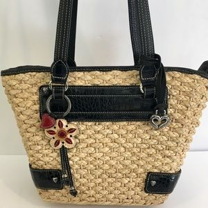 Brighton Wicker Bag Floral Fabric Black Trim